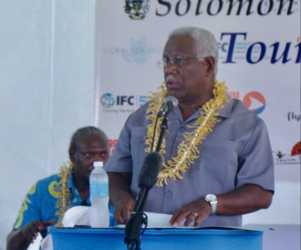Solomon Islands caretaker PM, the Hon. Rick Houenipwela addressing Tourism in Focus Forum 2019 delegates.