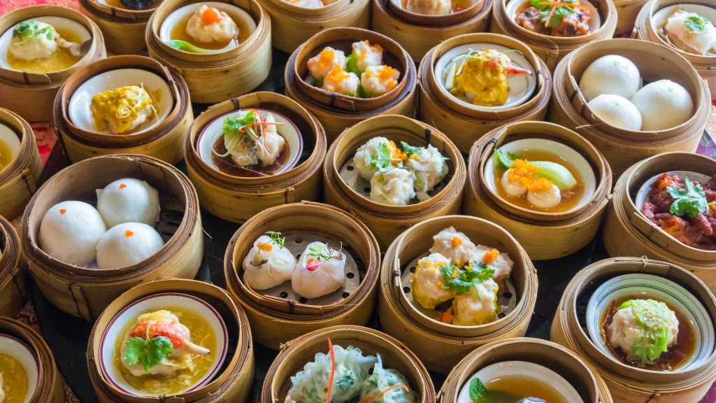 Close up dim sum chinese food in bamboo basket