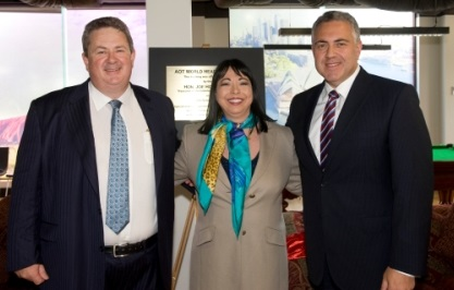 Andrew Burnes, Cinzia Burnes and Joe Hockey at AOT Headquarters opening 2013
