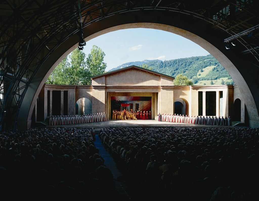 View of stage for the Oberammergau Passion Play