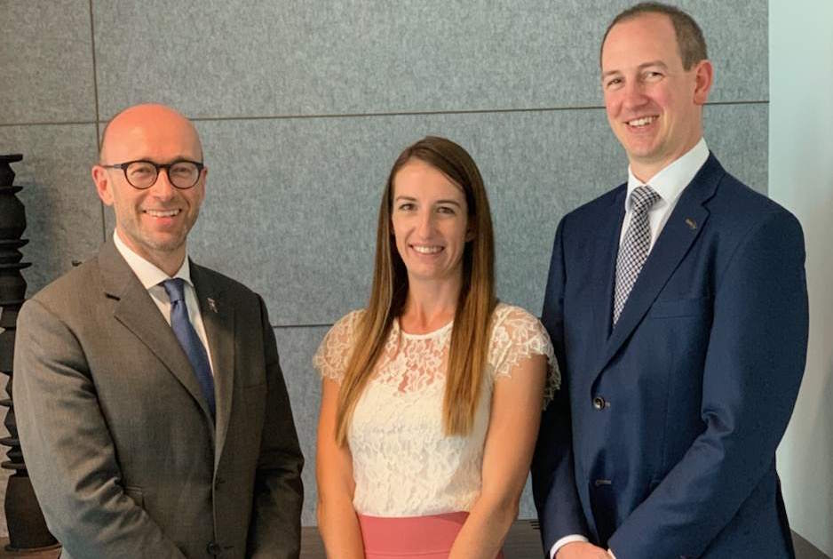 Simon Palethorpe (Cunard president), Katrina McAlpine (Snr manager for Aus & NZ) and Matthew Gleaves (VP international planning and development)