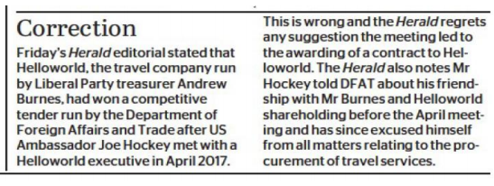 The Sydney Morning Herald correction statement for Helloworld