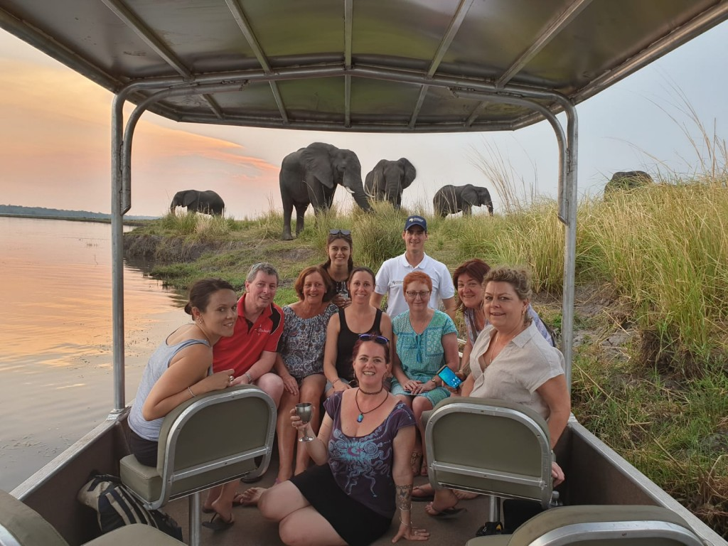 Travellers Choice members encounter elephants on the banks of the Chobe River