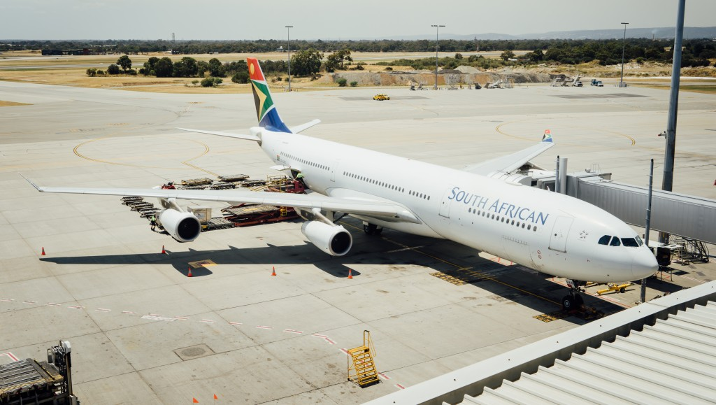 South African Airways Airbus A340 taxies