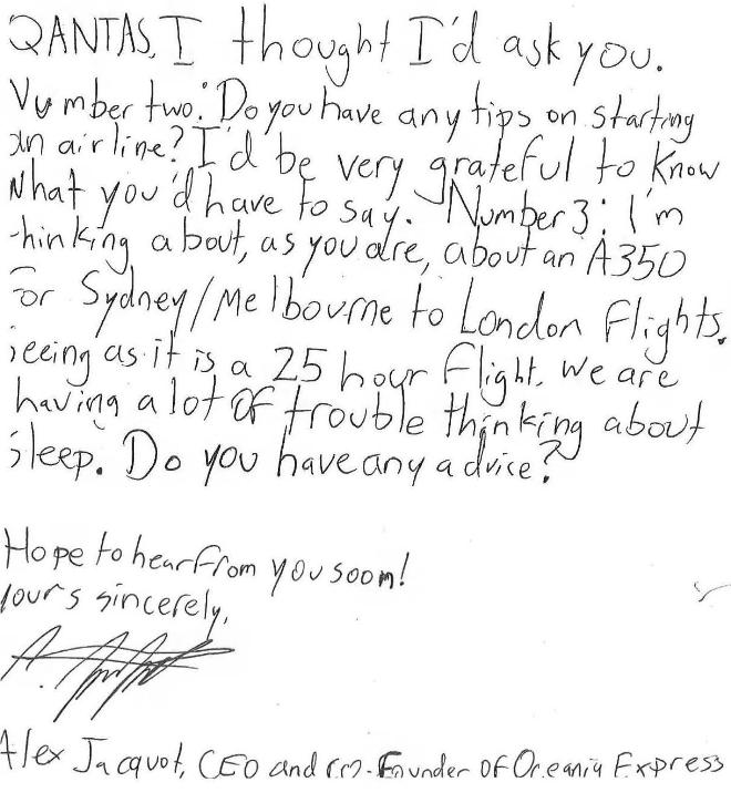 Alex Jacquot's letter to Qantas CEO Alan Joyce (page 2)