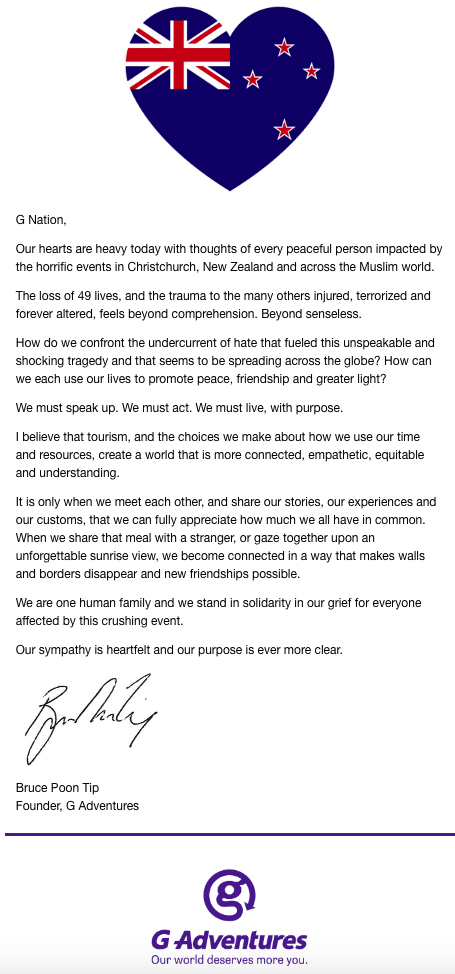Bruce Poon Tip letter on Christchurch shooting