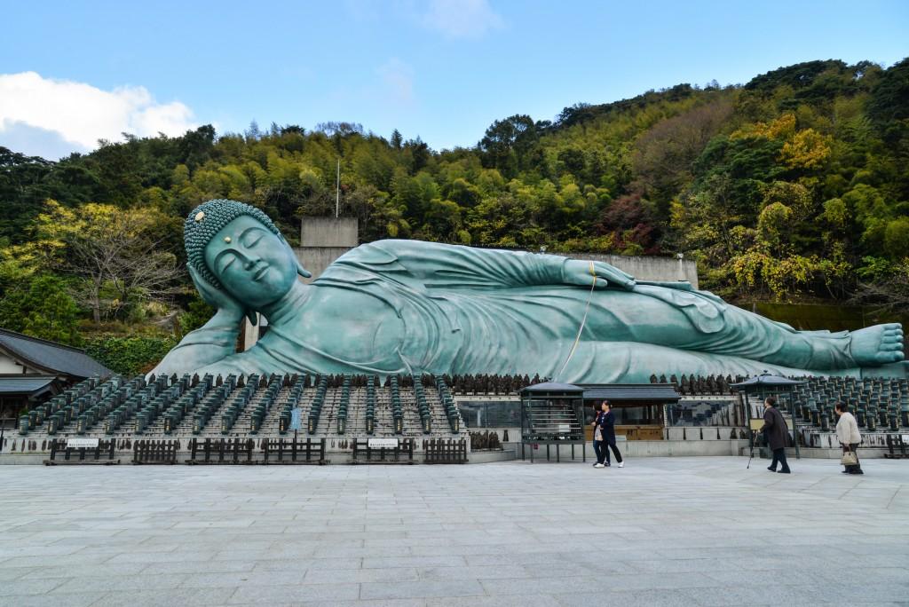 Fukuoka, Japan - November 19, 2018: Tourists are visiting Nanzoin Reclining Buddha, Fukuoka, Japan