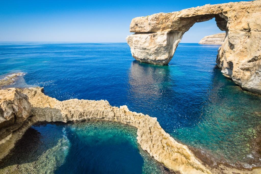 The world famous Azure Window of Gozo island, Malta.