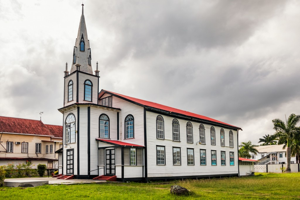 Historic wooden church in Georgetown, the capital of Guyana, South America. Guyana is one of the four regions in the world that make up the Green Shield, an area with 18% of the world's tropical forests.