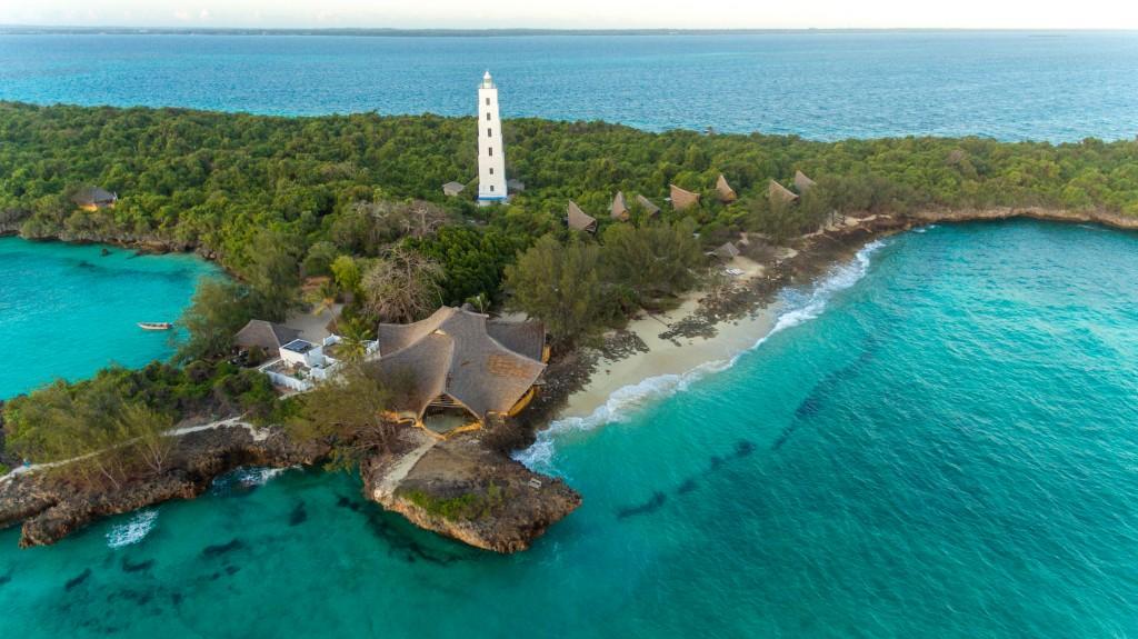 Aerial view of the Chumbe island coral park, Zanzibar, Tanzania.
