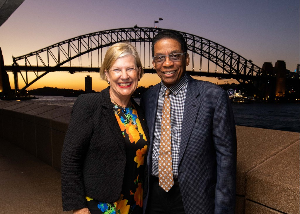Ann Sherry and Herbie Hancock in Sydney - Photo by James D Morgan