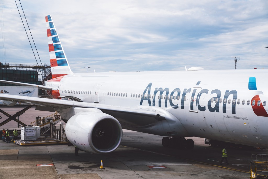 Heathrow airport London, UK - September 16, 2018: American airlines Boeing 777 at Heathrow airport in London