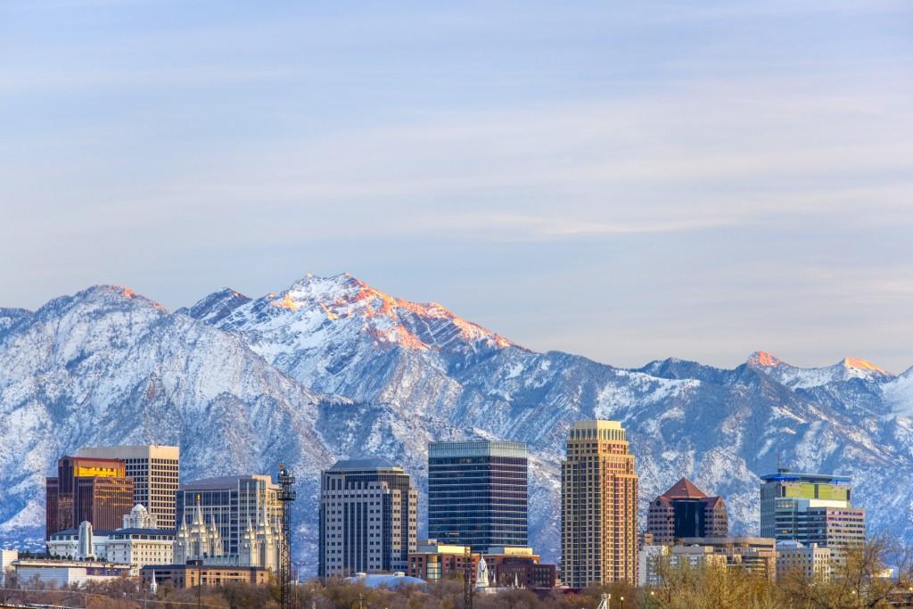 Sunset light hitting Salt Lake City and mountain range