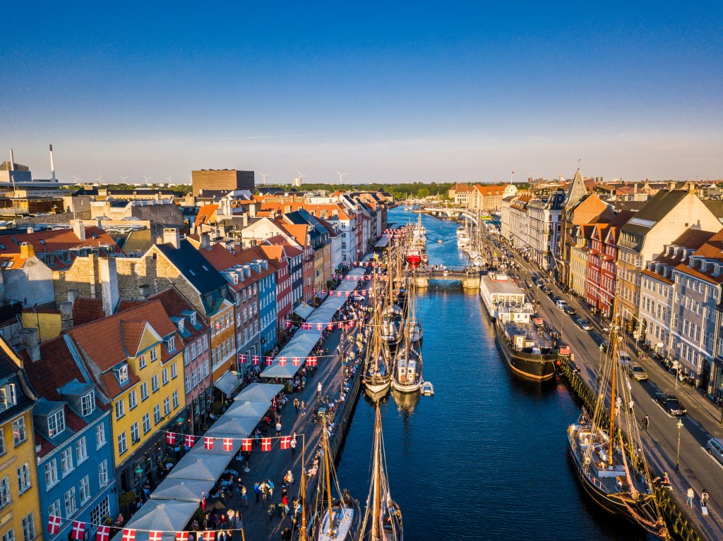 Nyhavn, the popular canal and harbor within Copenhagen, Denmark.