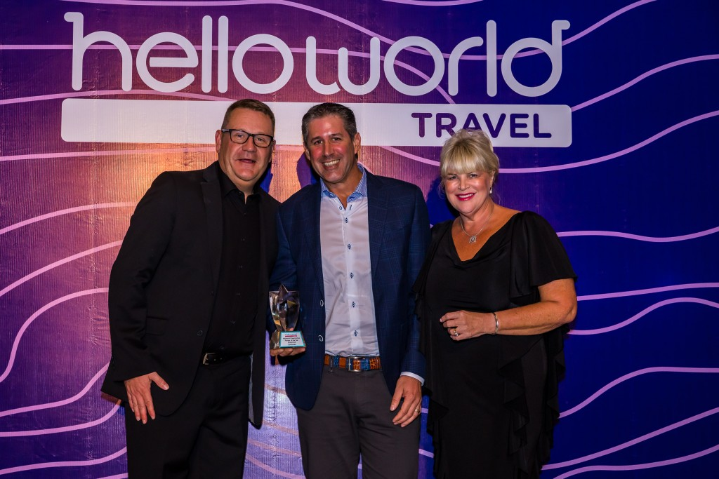 John Constable (Helloworld Travel Limited), Chris Paykel, (Emirates) and Julie Primmer (Helloworld Travel Limited)