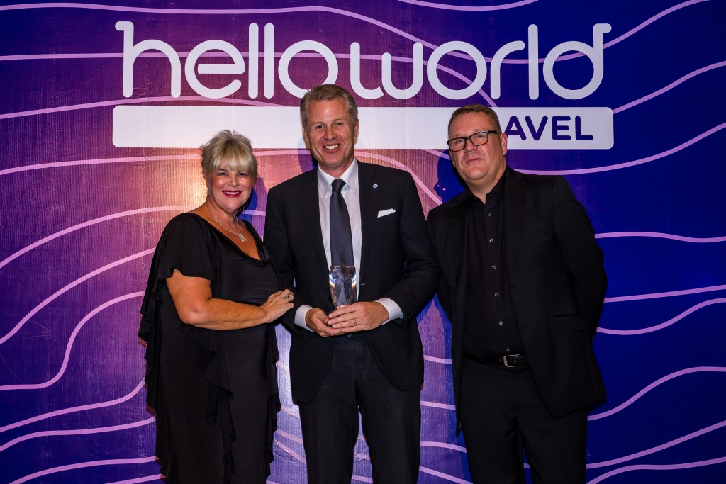 Julie Primmer (Helloworld Travel Limited), John Veitch (The Travel Corporation) and John Constable (Helloworld Travel Limited)
