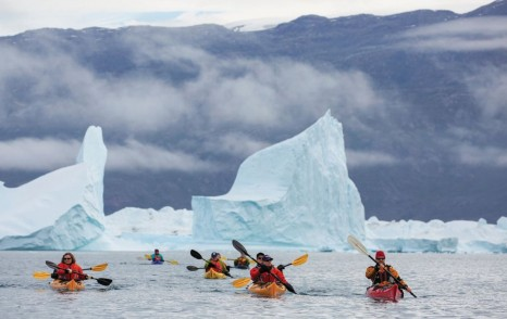 Aurora Expeditions' guests exploring Rode Island, Greenland by kayak