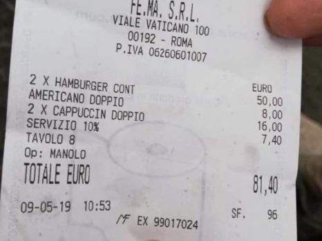 Caffe Vaticano bill