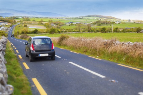 Car in Ireland scenery shot