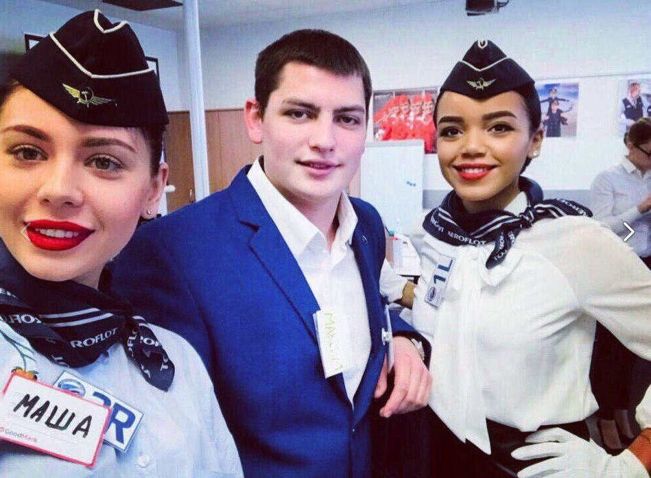 Maxim Moiseev (centre) has been confirmed as the flight attendant that tragically lost his life on board SU