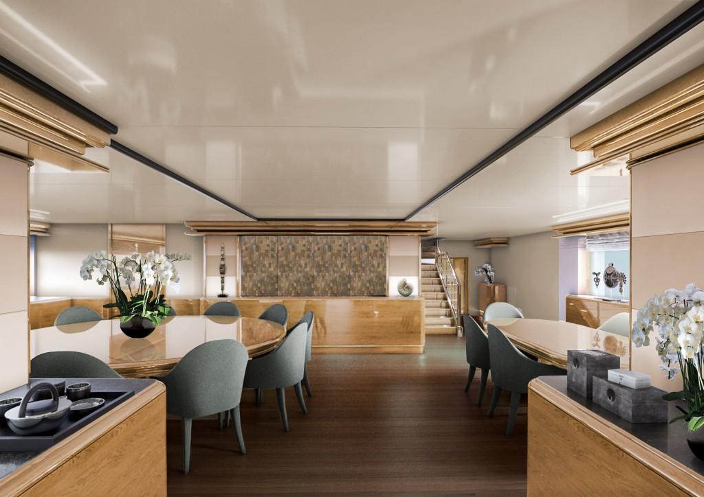 The dining room on board Aqua Blu.