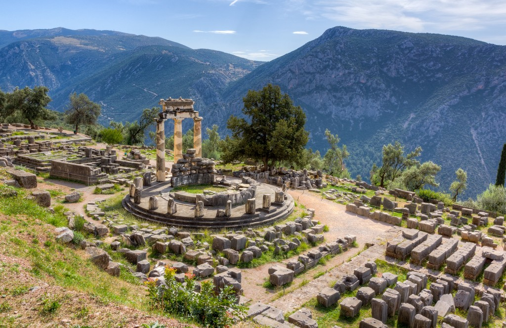 View of the Tholos at the sanctuary of Athena Pronaia, Delphi, Phocis, Greece
