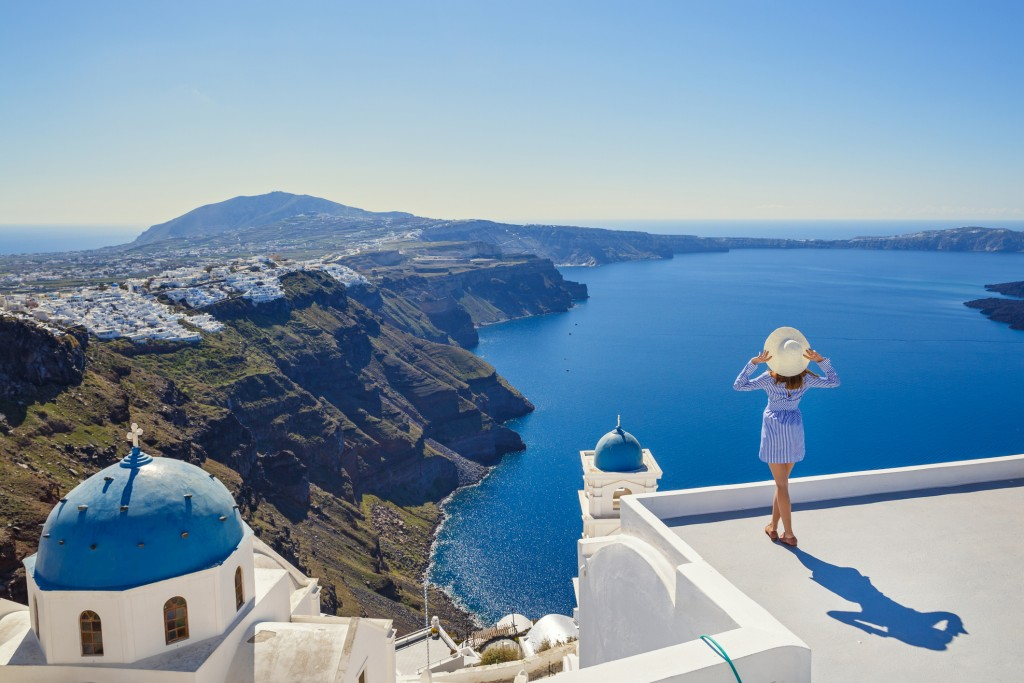 The colours of Greece, white and blue, are found in all directions in Santorini, Greece.