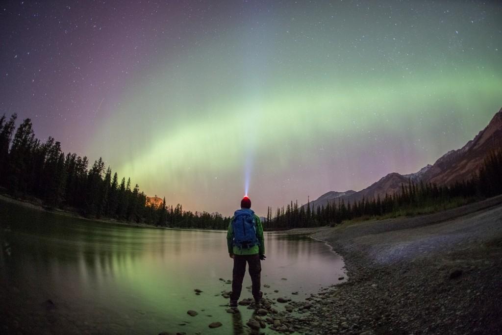 HDR Man Northern Lights