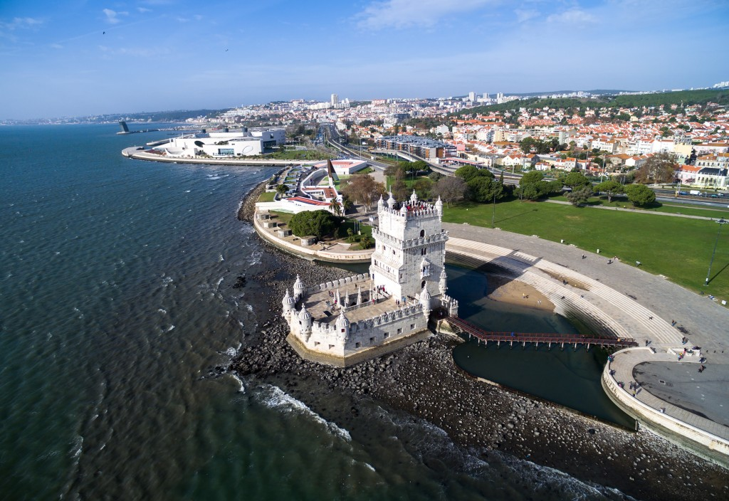 Aerial view of Belem Tower - Torre de Belem - in Lisbon, Portuga