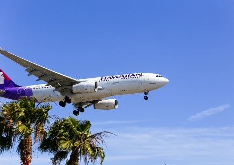 Hawaiian Airlines plane landing at Los Angeles International Airport