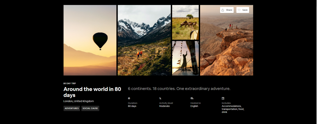 Screen capture of Airbnb's 'Around the world in 80 days' tour