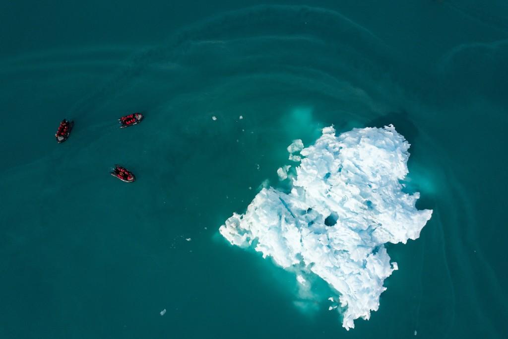 Zodiac Cruise in Monacobreen, Arctic Svalbard, Norway.