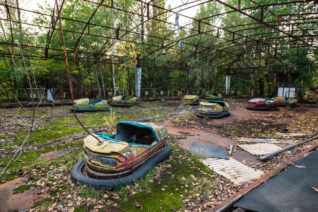 Amusement park in Pripyat, at the exclusion Zone of Chernobyl.