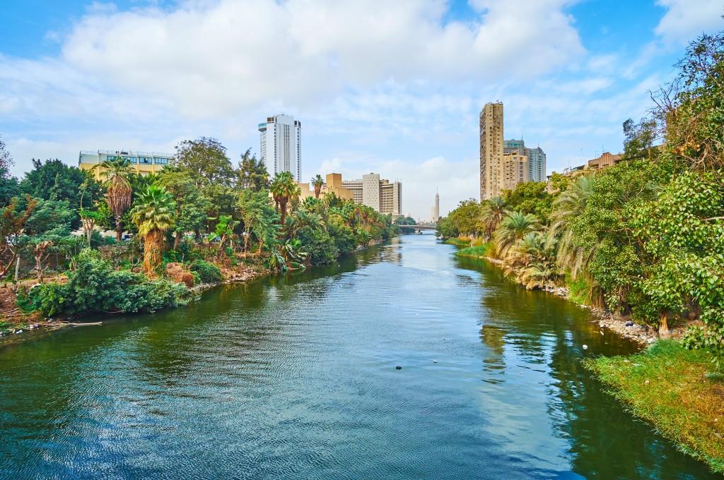 On bridge across the Nile, Cairo, Egypt