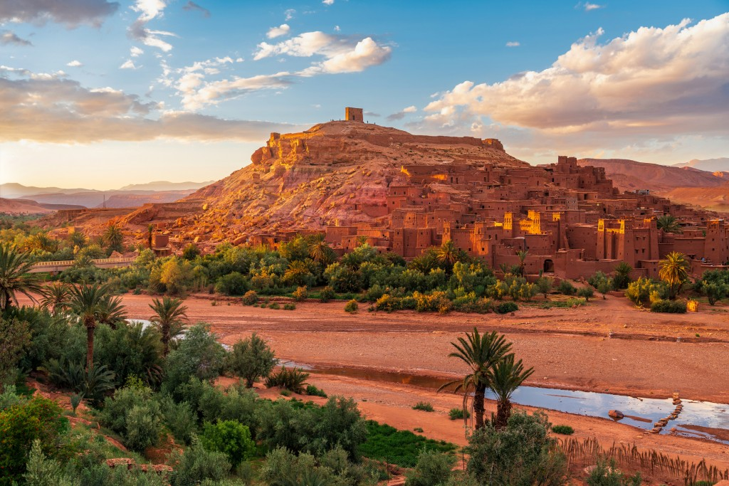 Sunset over Ait Benhaddou - Ancient city in Morocco North Africa