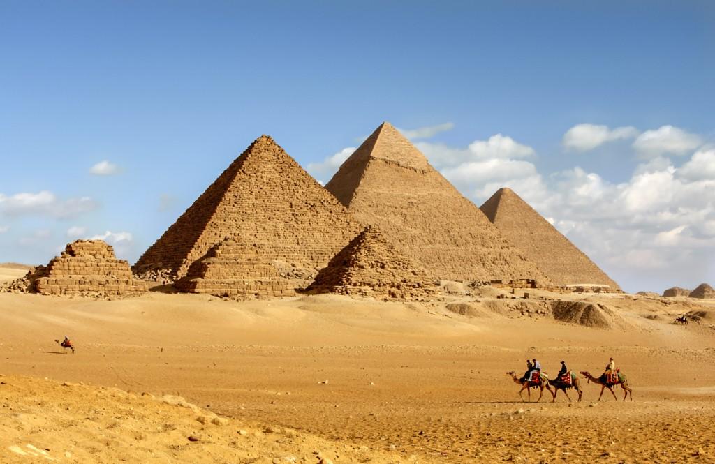 The great pyramids of Giza near Cairo, Egypt.