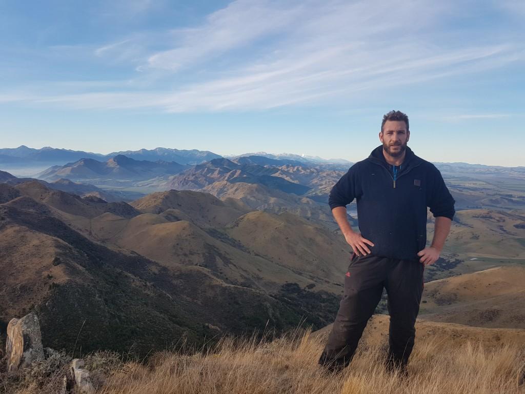 Luke Romano in the hills in Canterbury