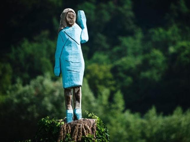 Melania Trump statue Slovenia facing