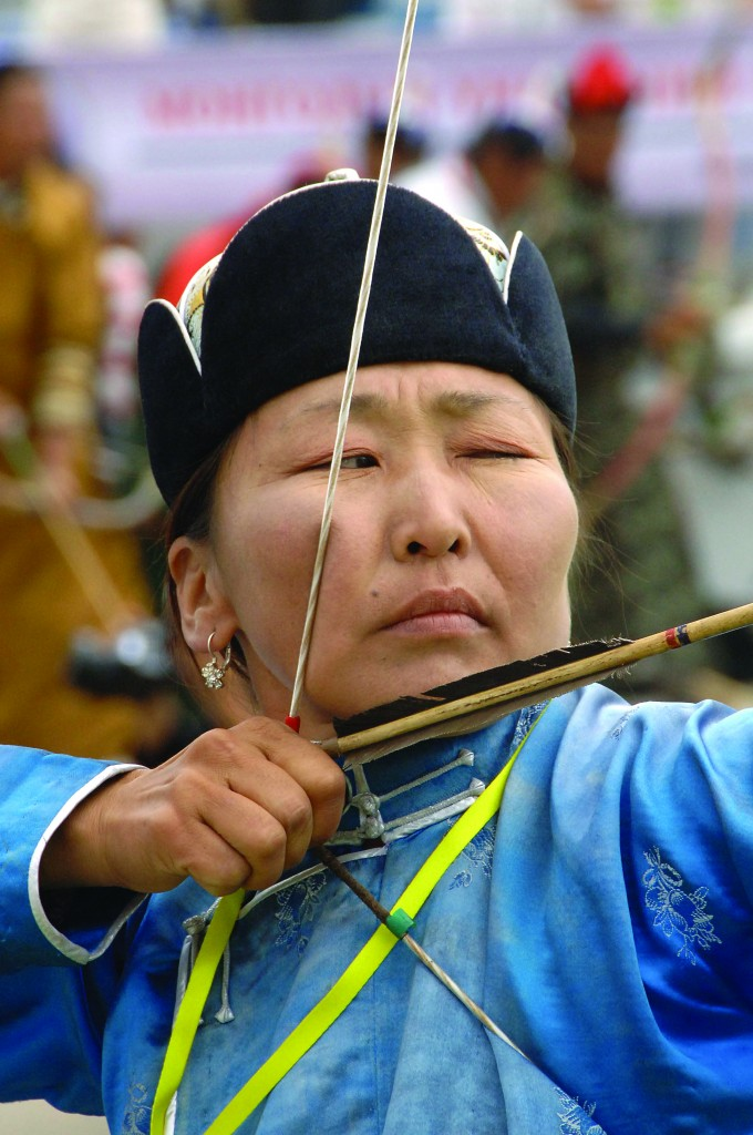 Although the festival consists of historically male-oriented sports, both men and women compete in archery.