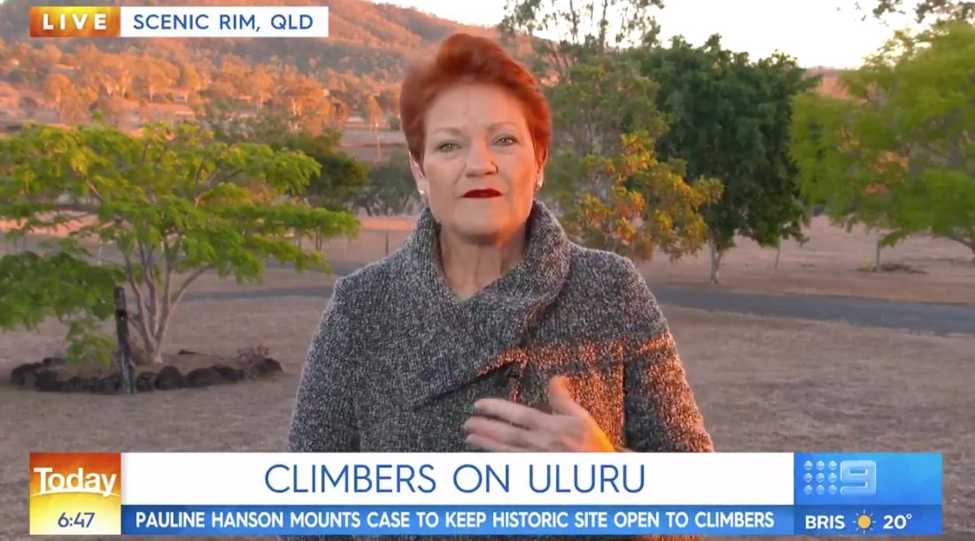 """How ridiculous"": Pauline Hanson likens Uluru climbing ban to closing Bondi Beach"