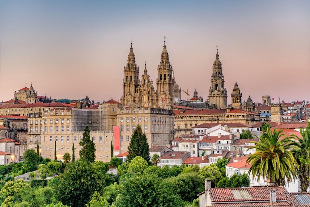 Santiago de Compostela cathedral and cityscape.