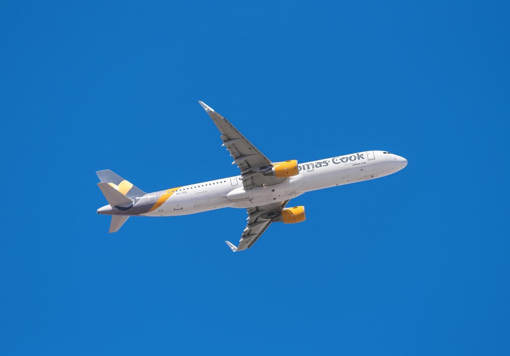 Tenerife, Spain - January 15, 2016: Thomas Cook Airbus 321 is taking off from Tenerife South airport on January 15, 2016.Thomas Cook Airlines, is a British charter airline based in Manchester, England.o