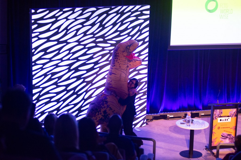 Speaker Sandra Vardanega, Worldwise leader at Flight Centre Travel Group, was the T-Rex's first victim at Travel DAZE 2019