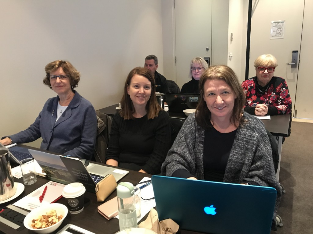Pictured (L to R): (front row) PTMs Carolyn Ahearne, Claire Crosby, Leonie Wilcock; (back row) David McCarthy, Helen Rolton, Sally Tobing