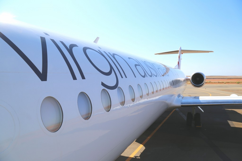 Onslow Western Australia October 10 2018: Virgin Australia Regional Airlines (VARA) Fokker 100 fuselage and tail at Onslow Airport in the north west of WA in support of fly in fly out mining industry
