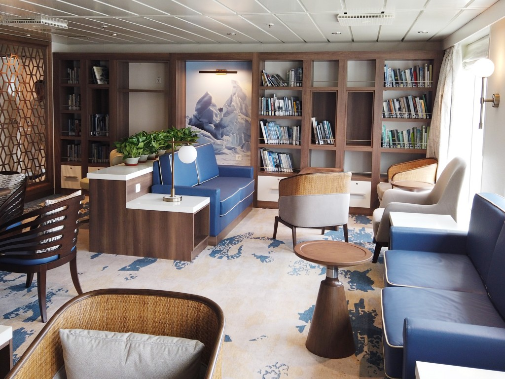 Image: Supplied by Aurora Expeditions. Greg Mortimer Library and Multimedia room