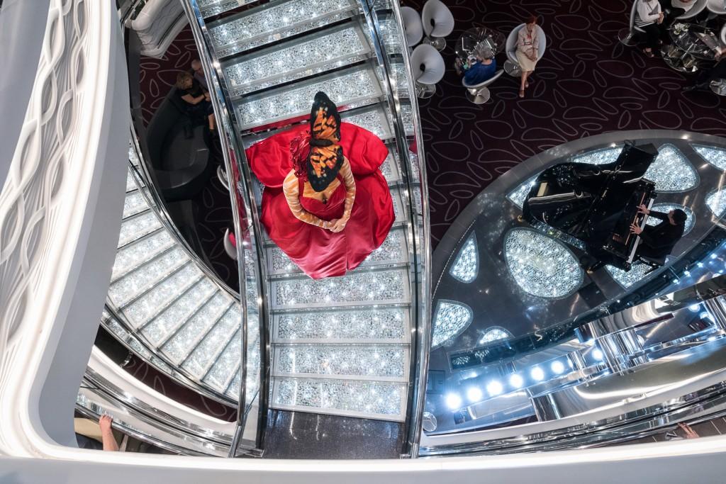 MSC Meraviglia_Swarovski staircase photo credit Ivan Sarfatti