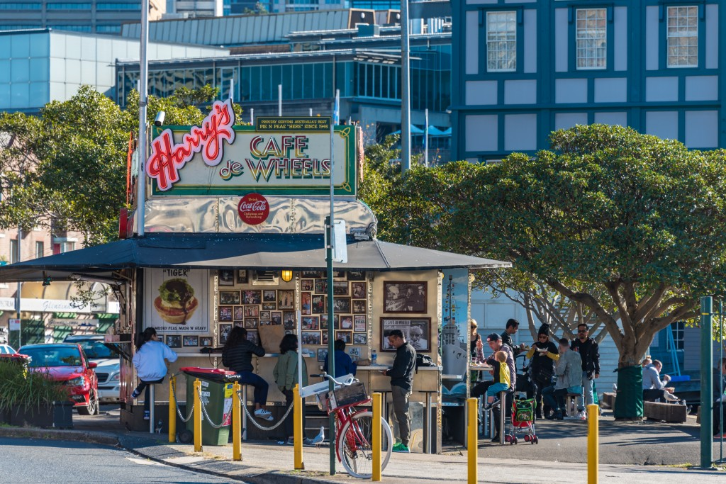 Popular Sydney street food cafe Harrys de Wheels with locals and tourists