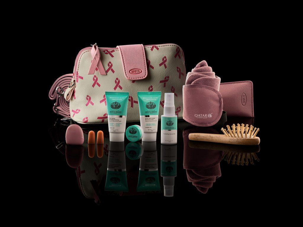 Qatar Airways Breast Cancer Awareness Month amenity kits